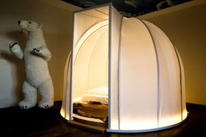 Staying in the igloo in the theme hotel Beverland